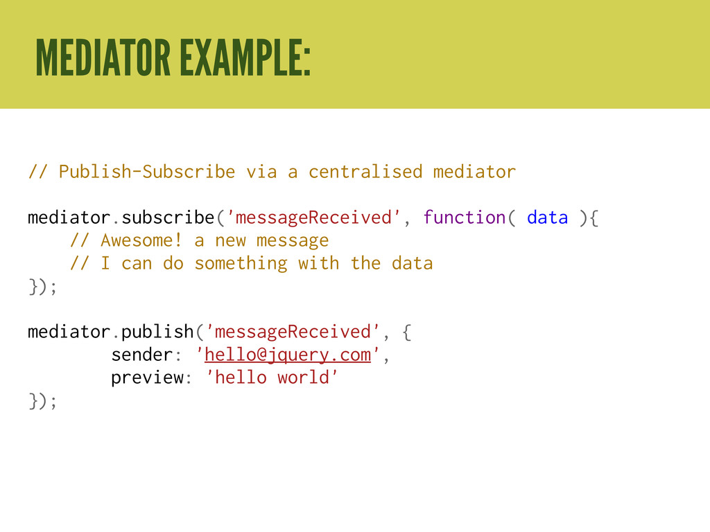 // Publish-Subscribe via a centralised mediator...