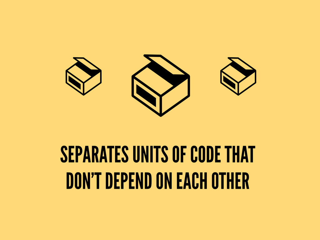 SEPARATES UNITS OF CODE THAT DON'T DEPEND ON EA...