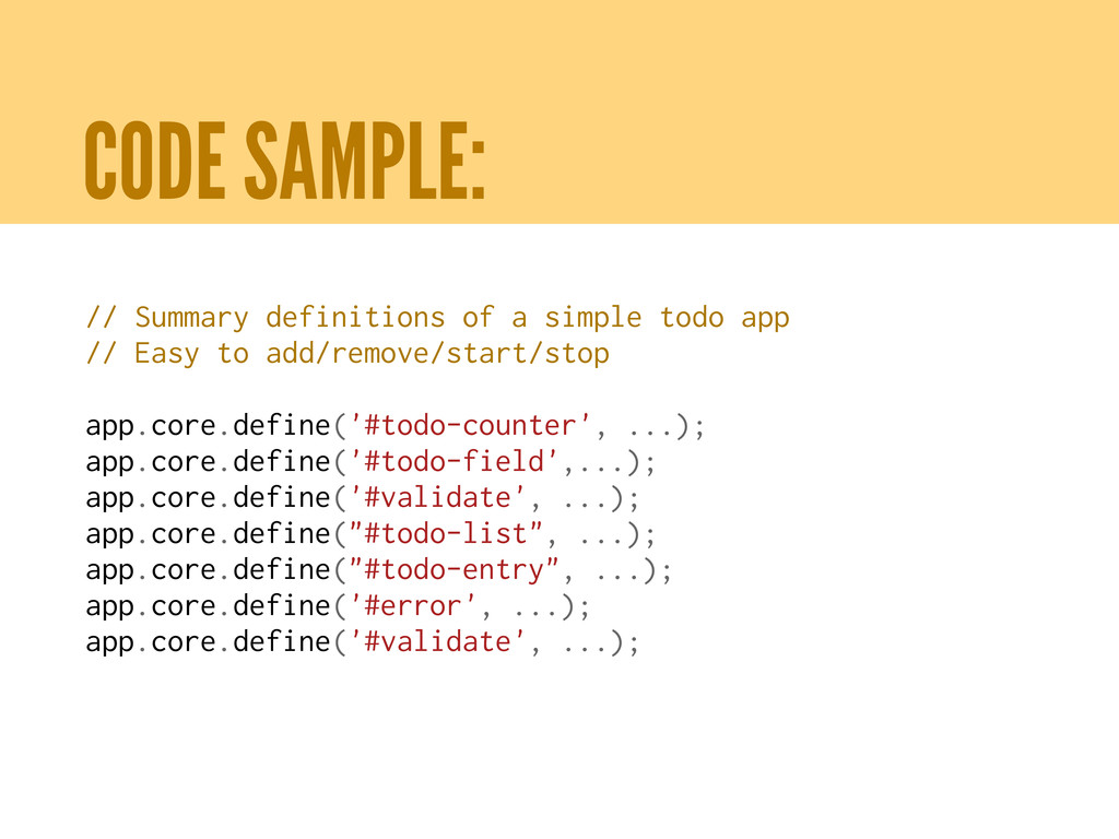 CODE SAMPLE: // Summary definitions of a simple...