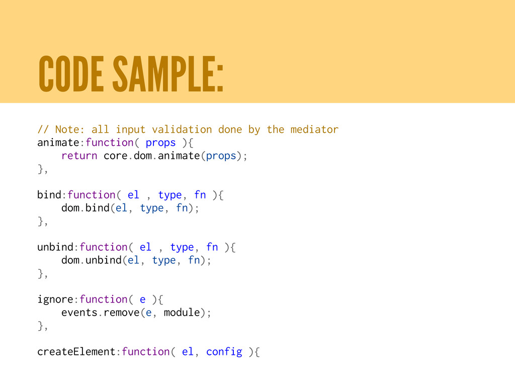 CODE SAMPLE: // Note: all input validation done...