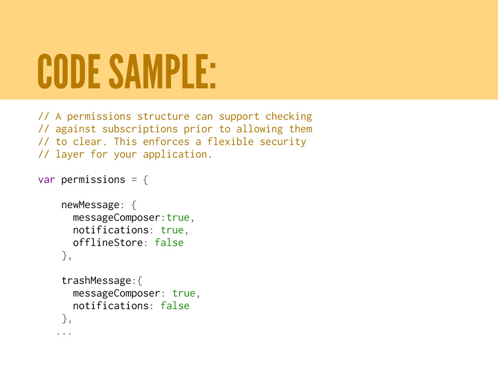 CODE SAMPLE: // A permissions structure can sup...