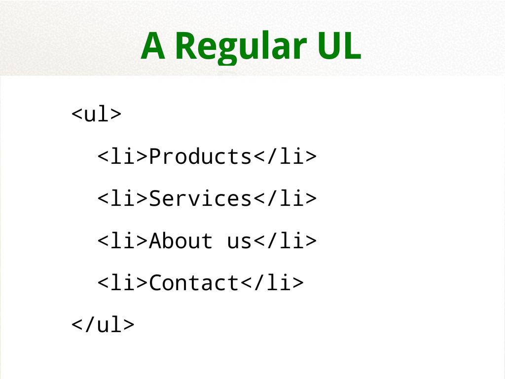 <ul> <li>Products</li> <li>Services</li> <li>Ab...
