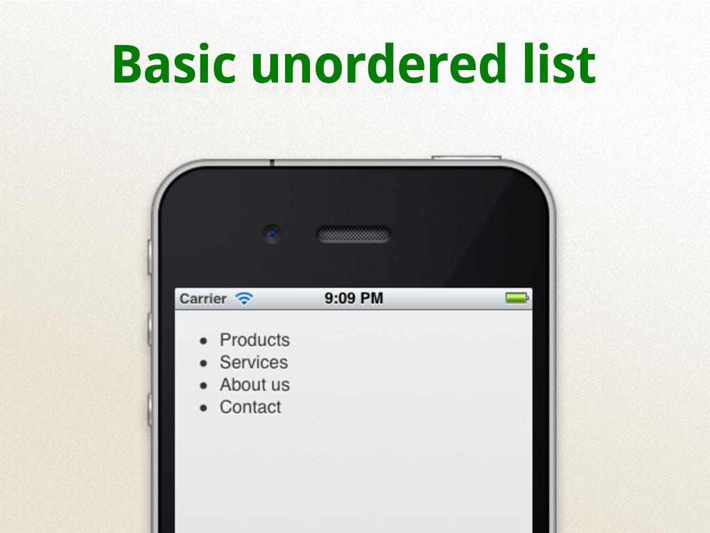 Basic unordered list