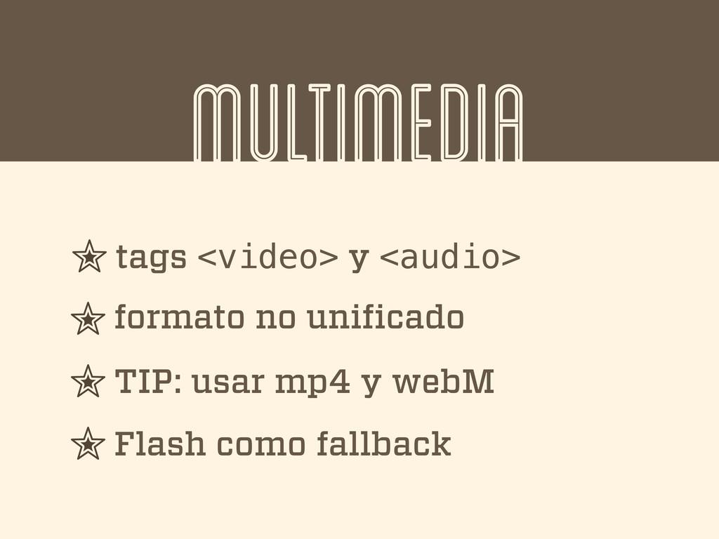 MULTIMEDIA tags <video> y <audio> formato no un...