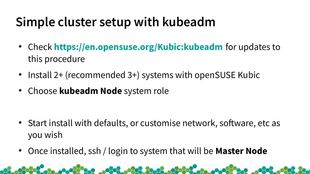 Simple cluster setup with kubeadm ● Check https...