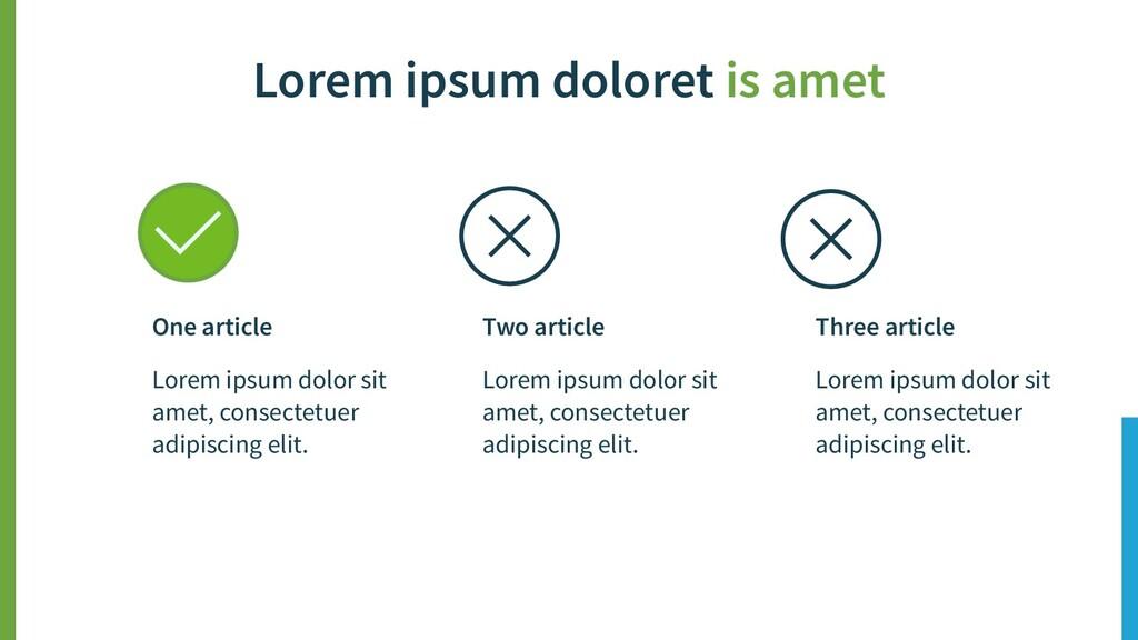 Lorem ipsum doloret is amet Three article Lorem...
