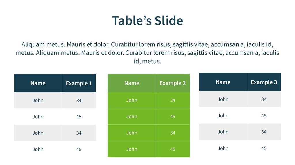 Table's Slide Name Example 1 John 34 John 45 Jo...