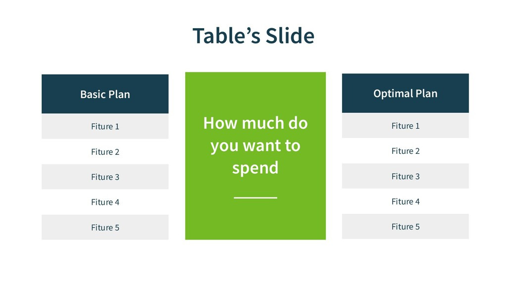 Table's Slide Optimal Plan Fiture 1 Fiture 2 Fi...