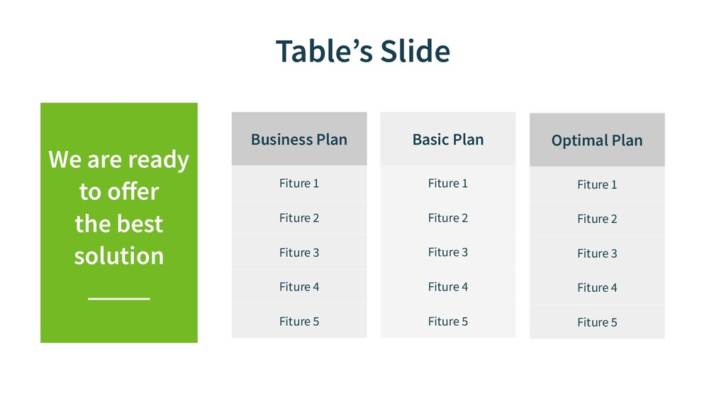Table's Slide Basic Plan Fiture 1 Fiture 2 Fitu...
