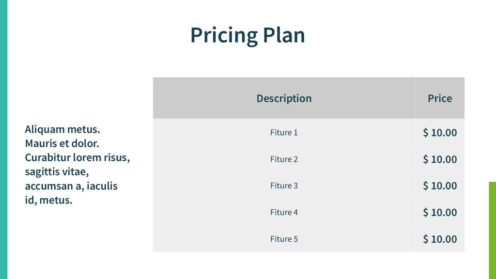 Pricing Plan Description Price Fiture 1 $ 10.00...