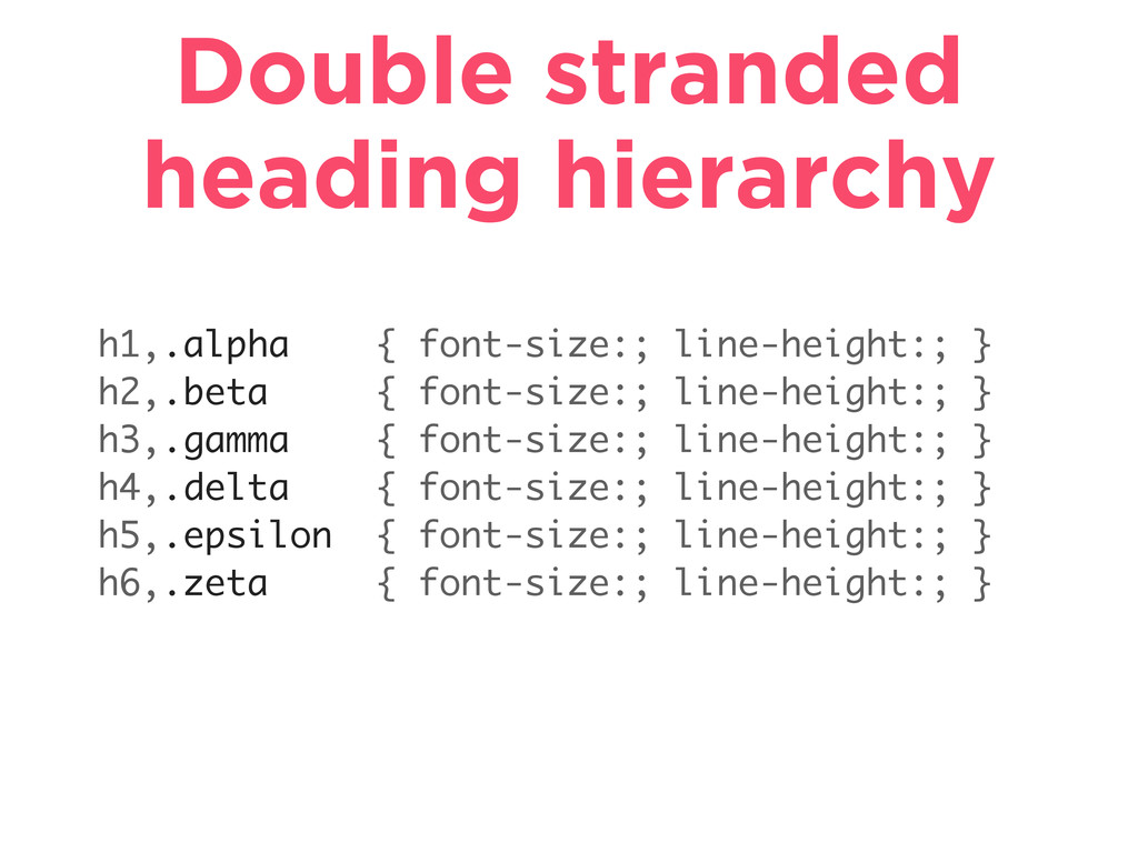 Double stranded heading hierarchy h1,.alpha { f...