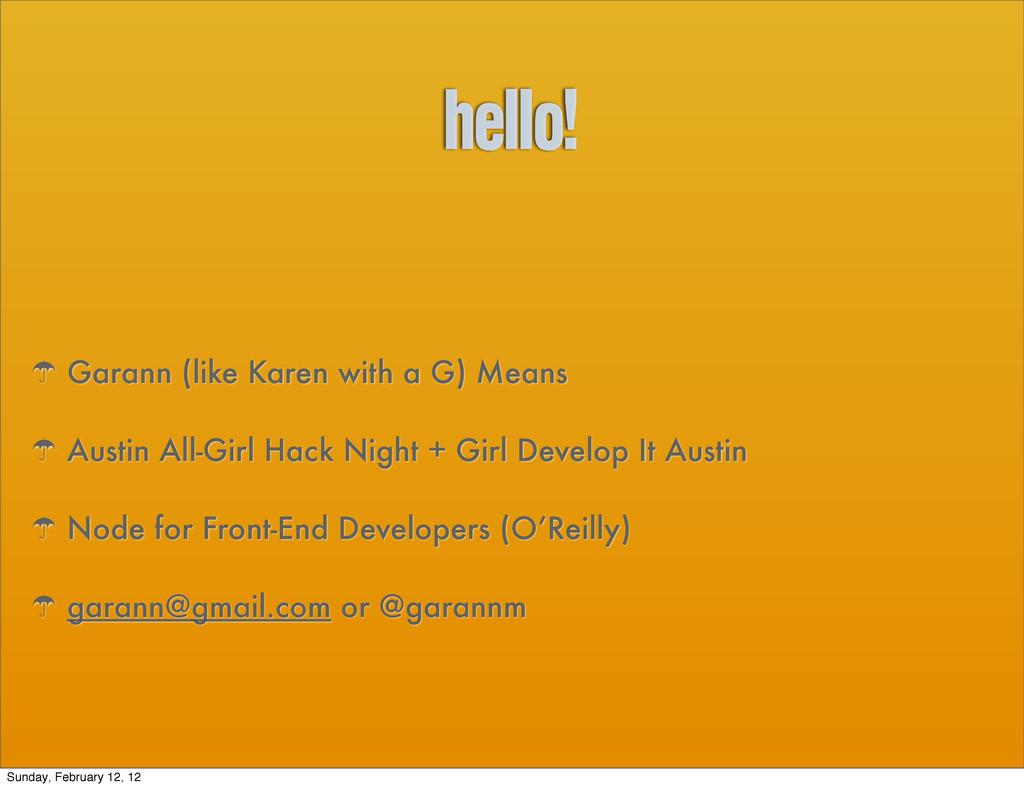 hello! ' Garann (like Karen with a G) Means ' A...