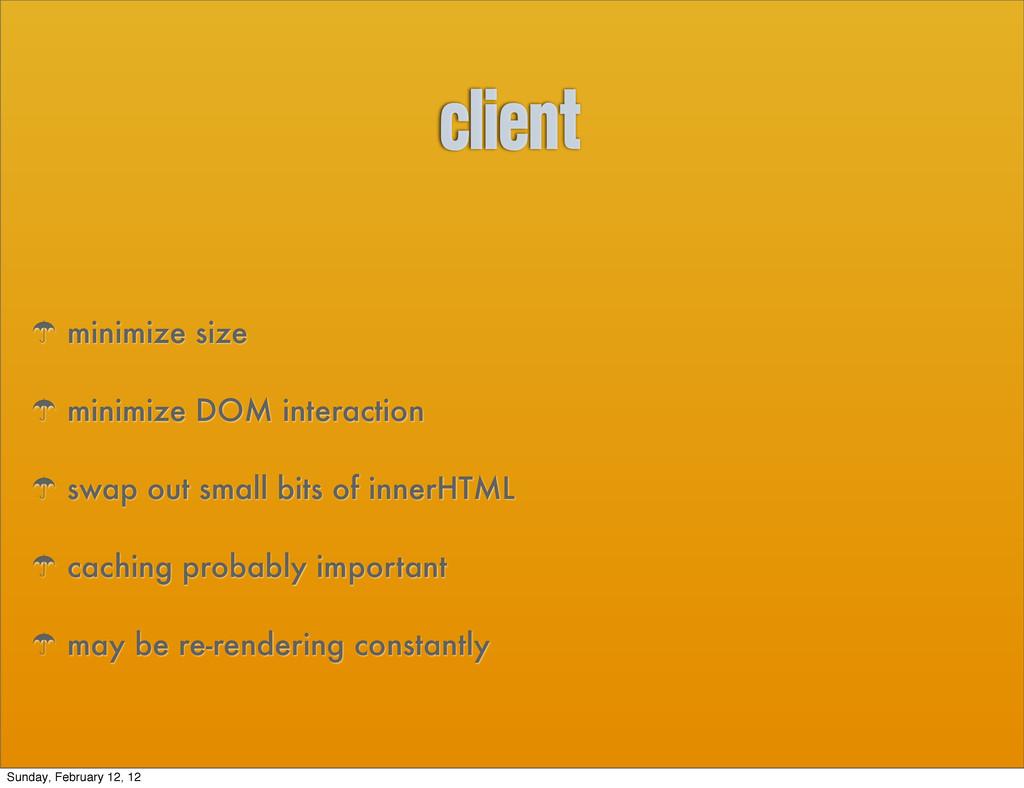 client ' minimize size ' minimize DOM interacti...