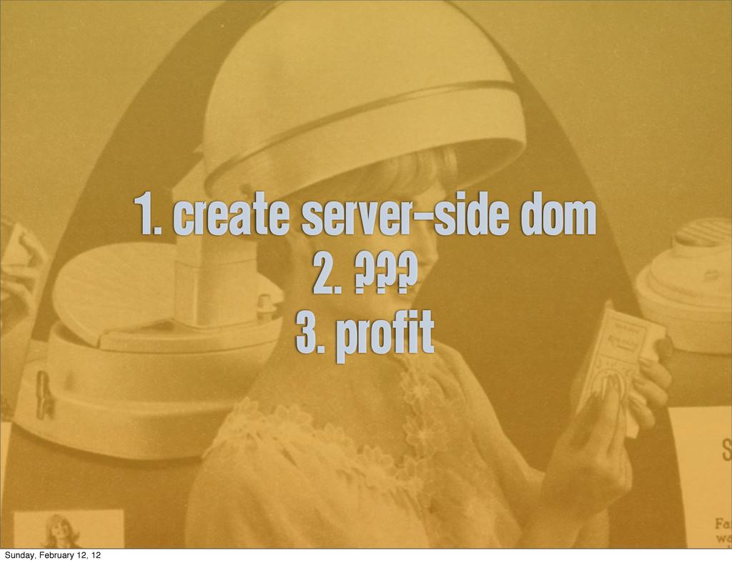 1. create server-side DOM 2. ??? 3. profit Sund...