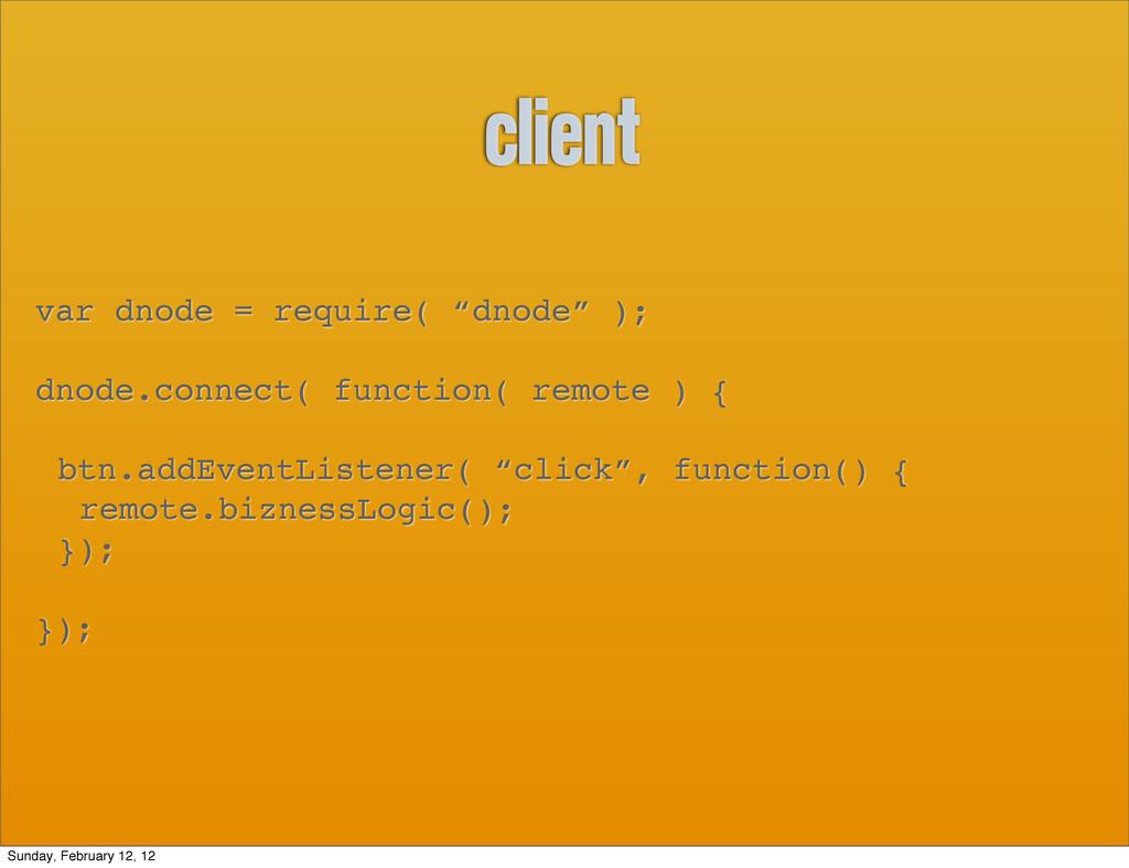 """client var dnode = require( """"dnode"""" ); dnode.co..."""