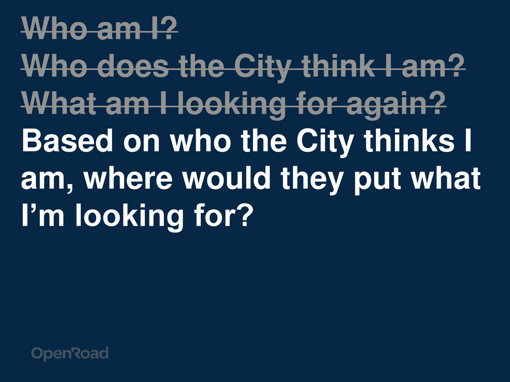 Who am I? Who does the City think I am? What am...