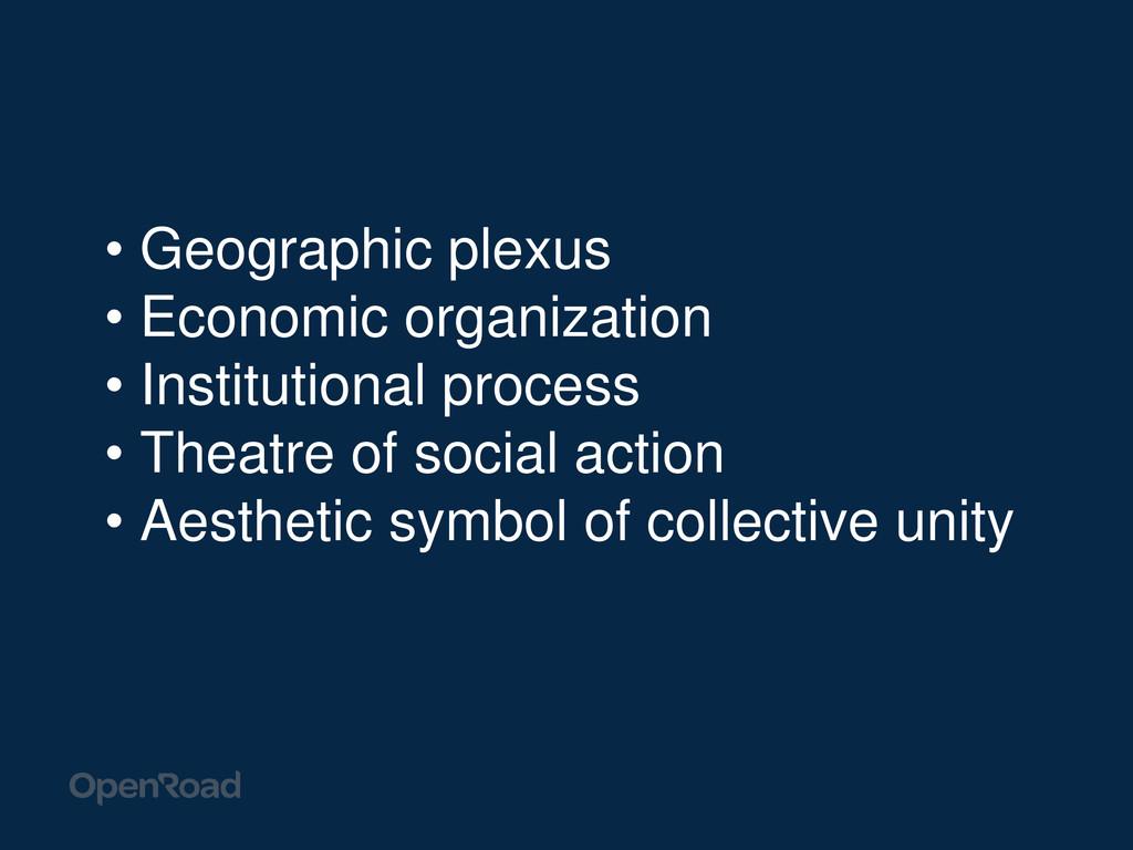 • Geographic plexus • Economic organization • I...
