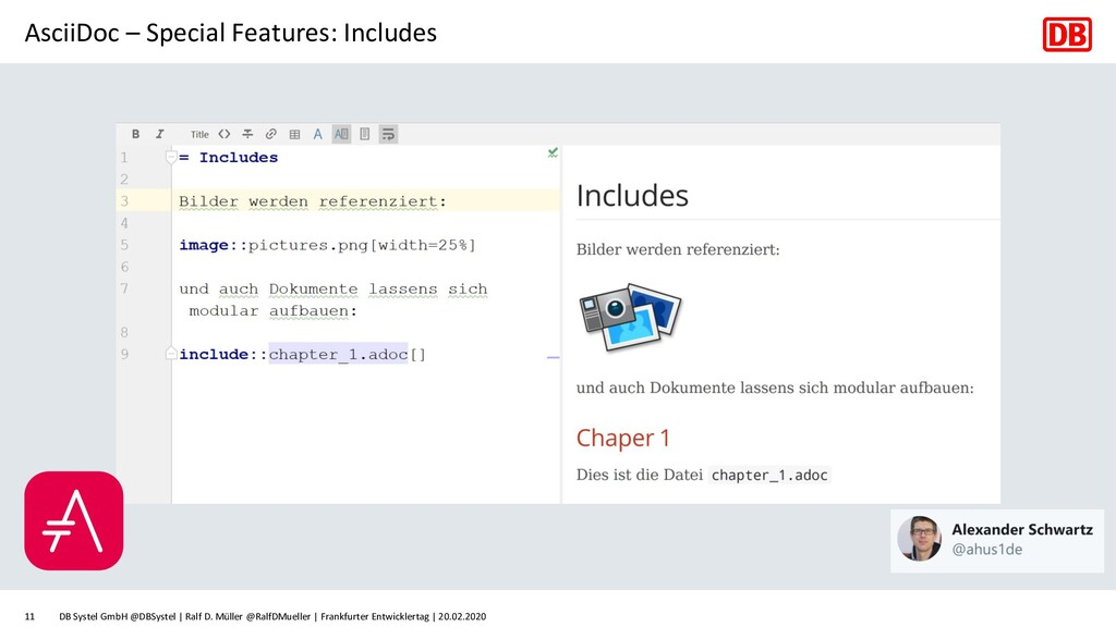 AsciiDoc – Special Features: Includes DB Systel...