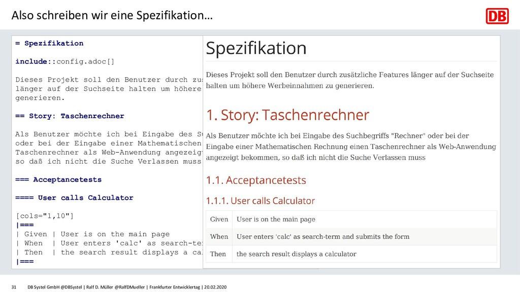 Also schreiben wir eine Spezifikation… DB Syste...