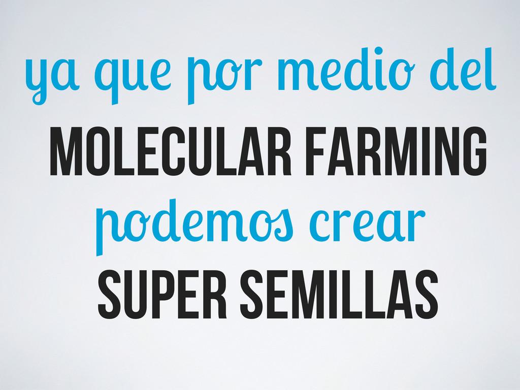 q r r r molecular farming SUPER SEmillas