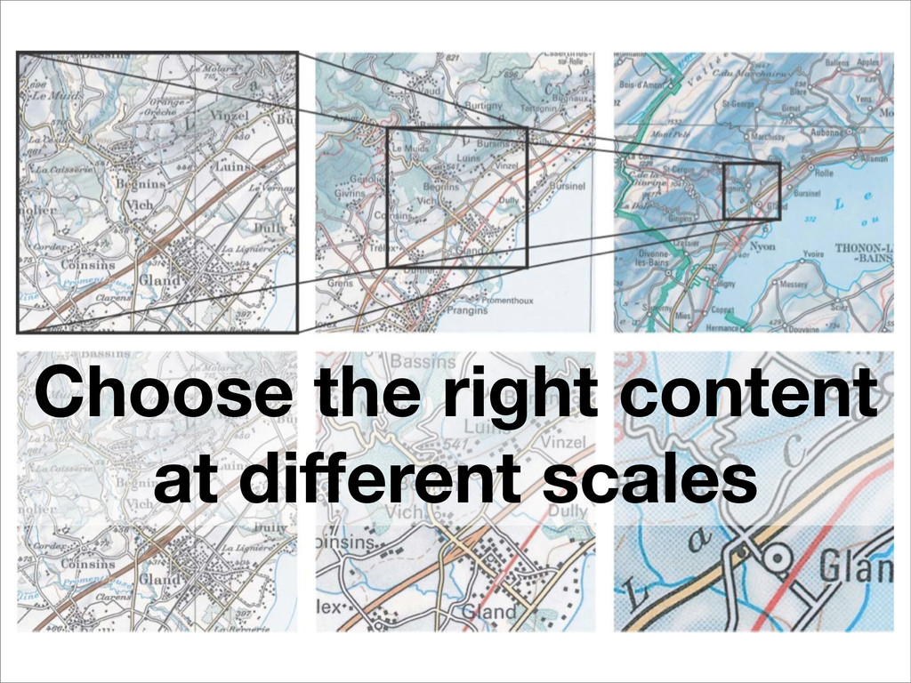 Choose the right content at different scales