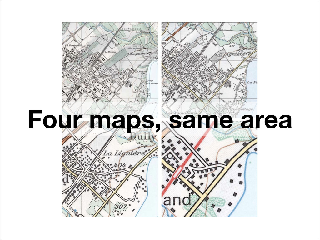 Four maps, same area