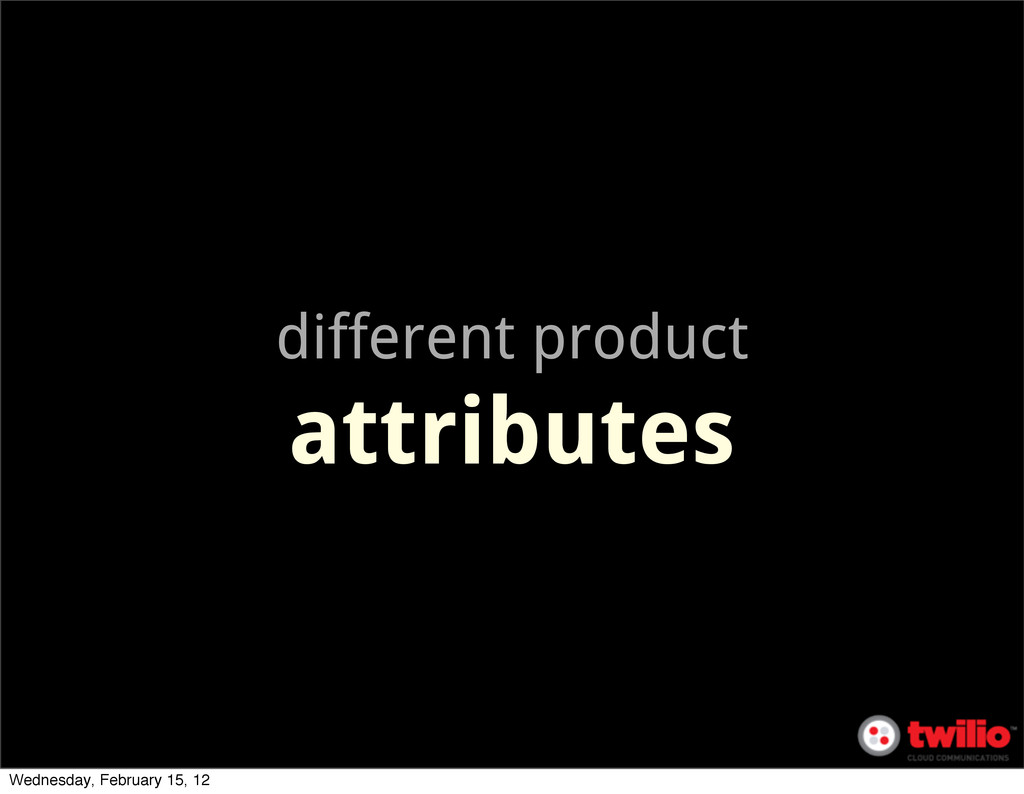 different product attributes Wednesday, Februar...