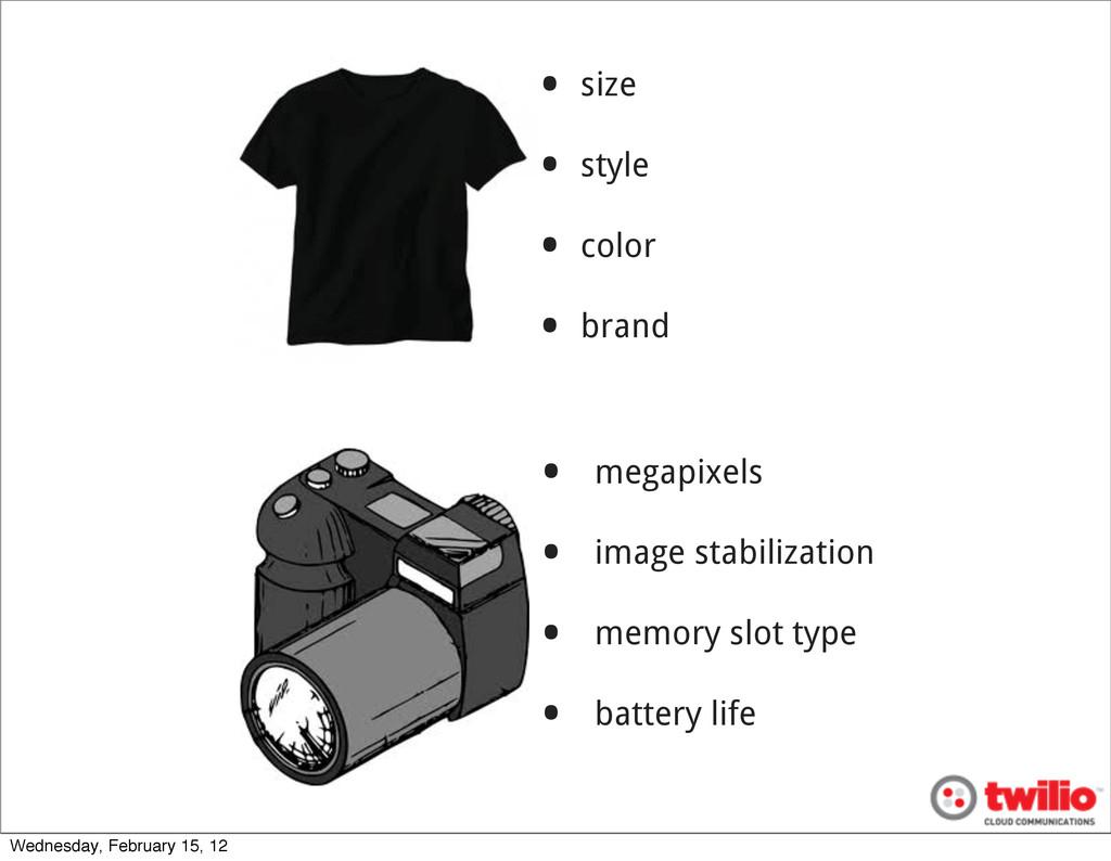 • size • style • color • brand • megapixels • i...