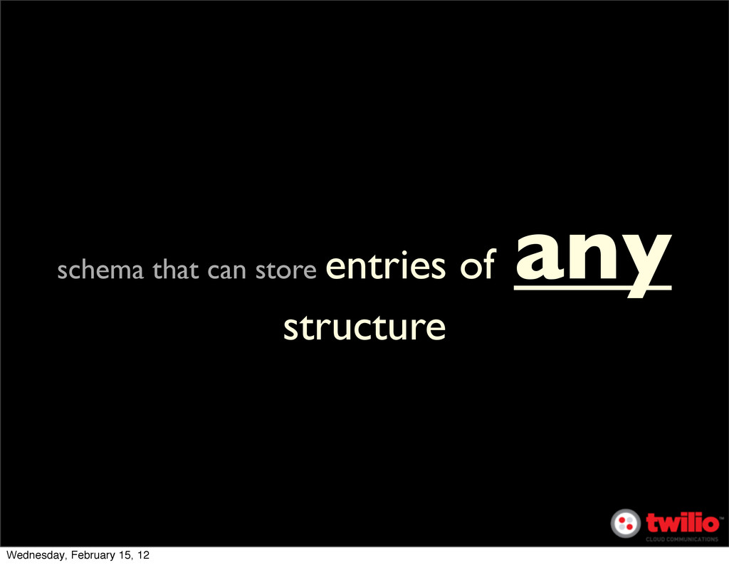 schema that can store entries of any structure ...