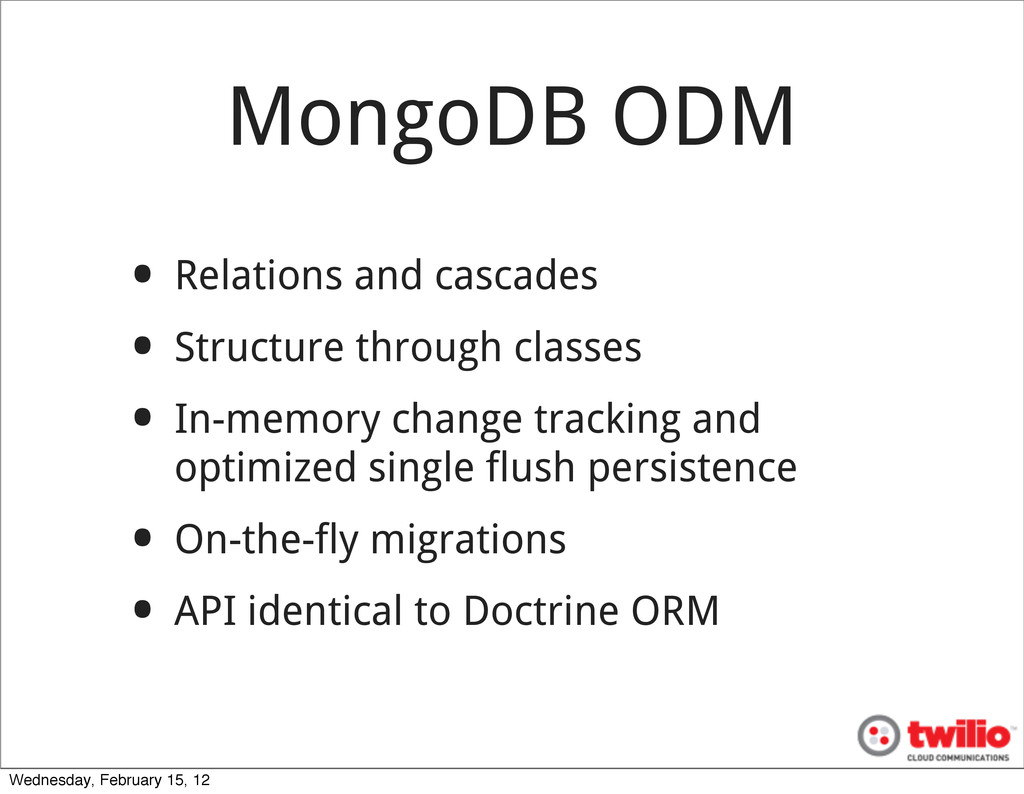MongoDB ODM • Relations and cascades • Structur...
