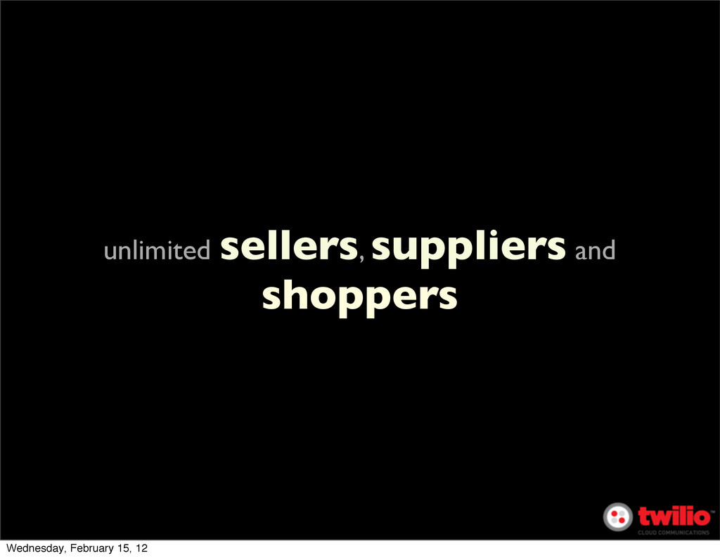 unlimited sellers, suppliers and shoppers Wedne...