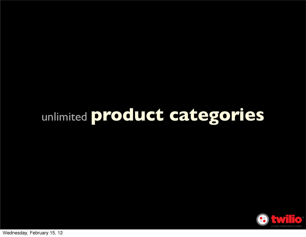unlimited product categories Wednesday, Februar...