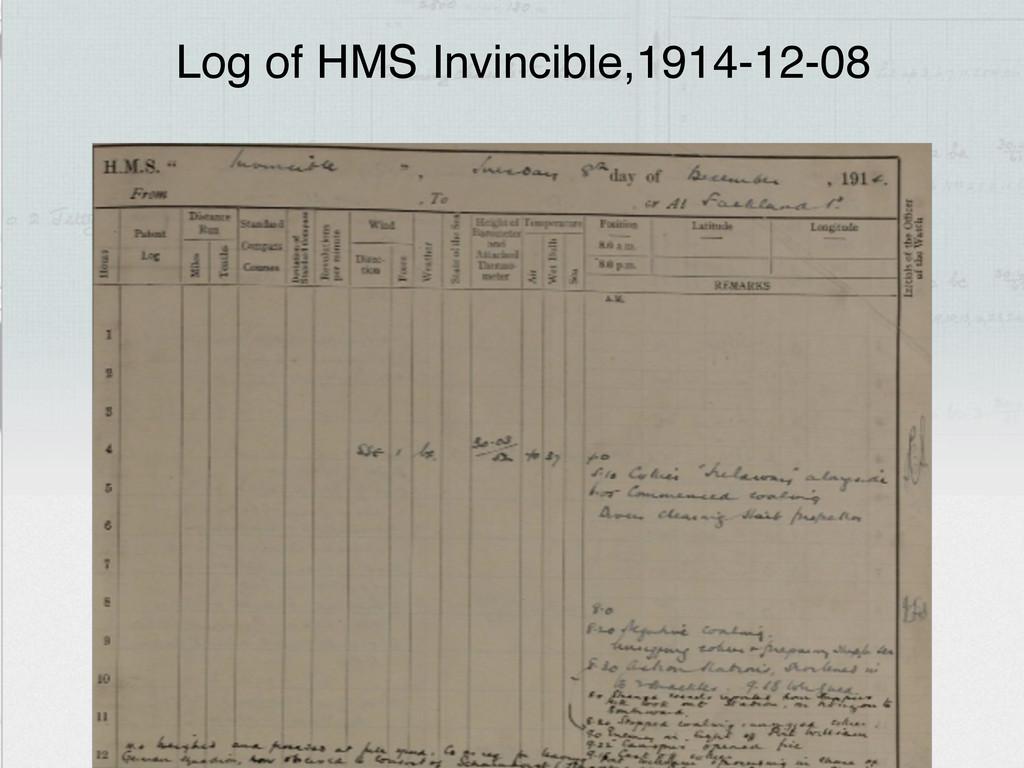 Log of HMS Invincible,1914-12-08