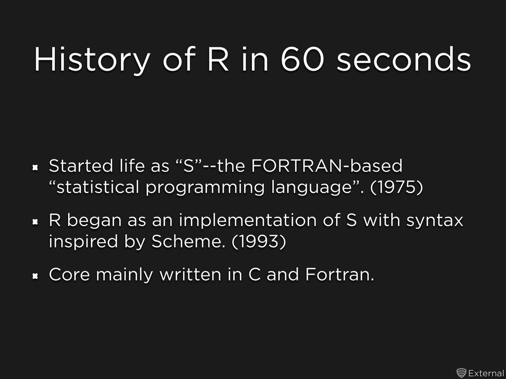 External History of R in 60 seconds Started lif...