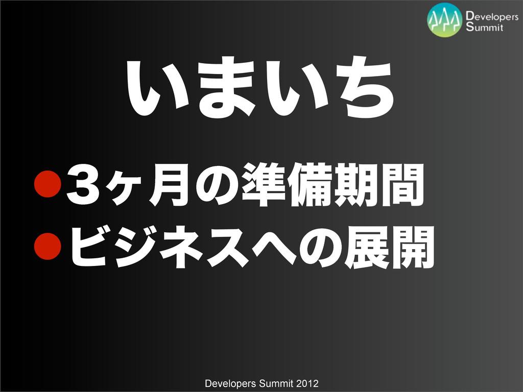 Developers Summit 2012 ͍·͍ͪ ϲ݄ͷ४උظؒ Ϗδωεͷల։