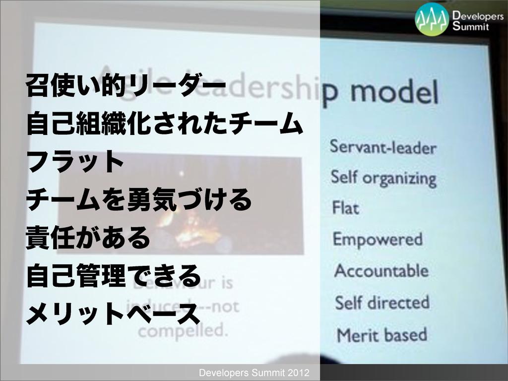 Developers Summit 2012 ঌ͍తϦʔμʔ ࣗݾ৫Խ͞ΕͨνʔϜ ϑϥο...