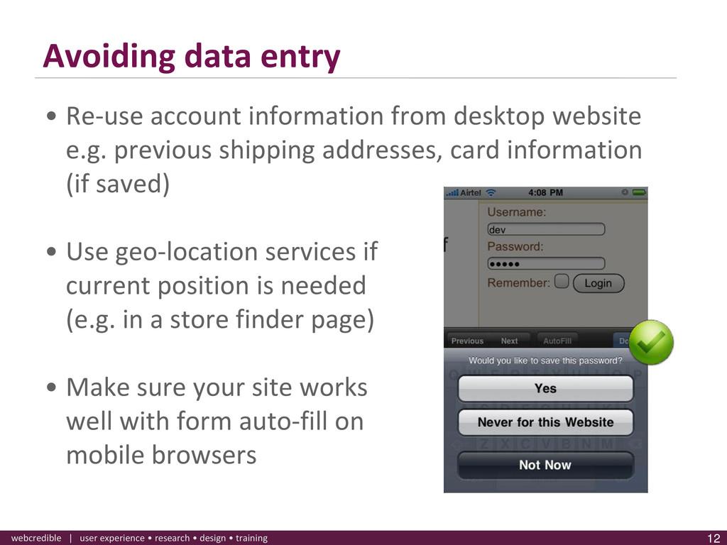 www.webcredible.co.uk 12 webcredible | user exp...
