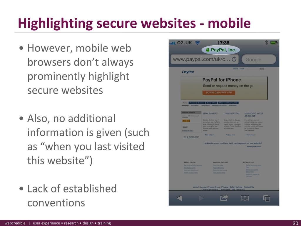 www.webcredible.co.uk 20 webcredible | user exp...
