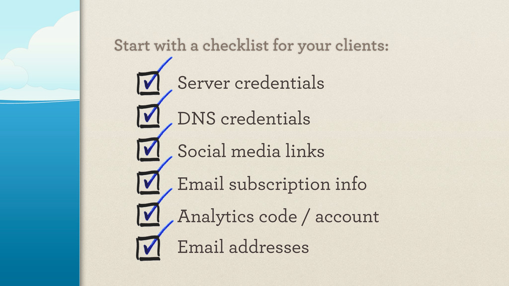 Server credentials DNS credentials Social media...