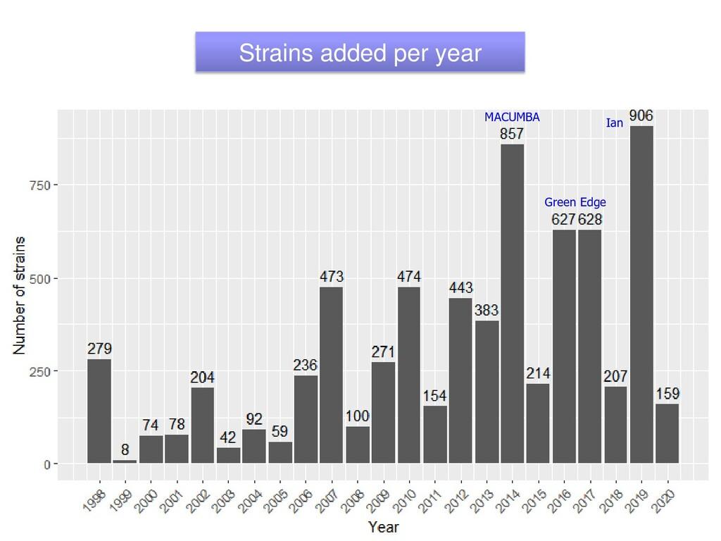 Strains added per year Green Edge MACUMBA Ian