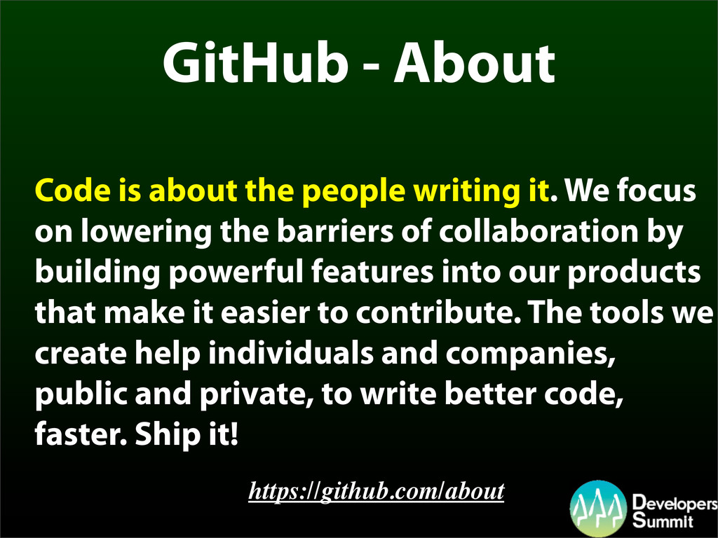GitHub - About Code is about the people writing...