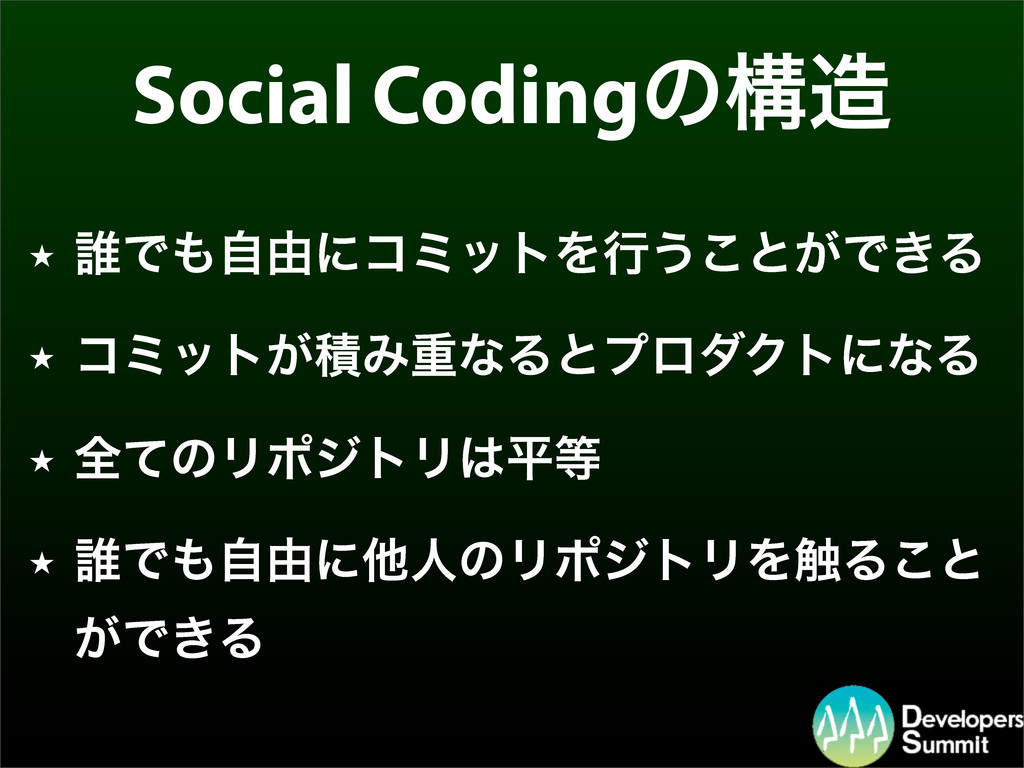 Social Codingͷߏ ★ ୭Ͱࣗ༝ʹίϛοτΛߦ͏͜ͱ͕Ͱ͖Δ ★ ίϛοτ͕ੵ...