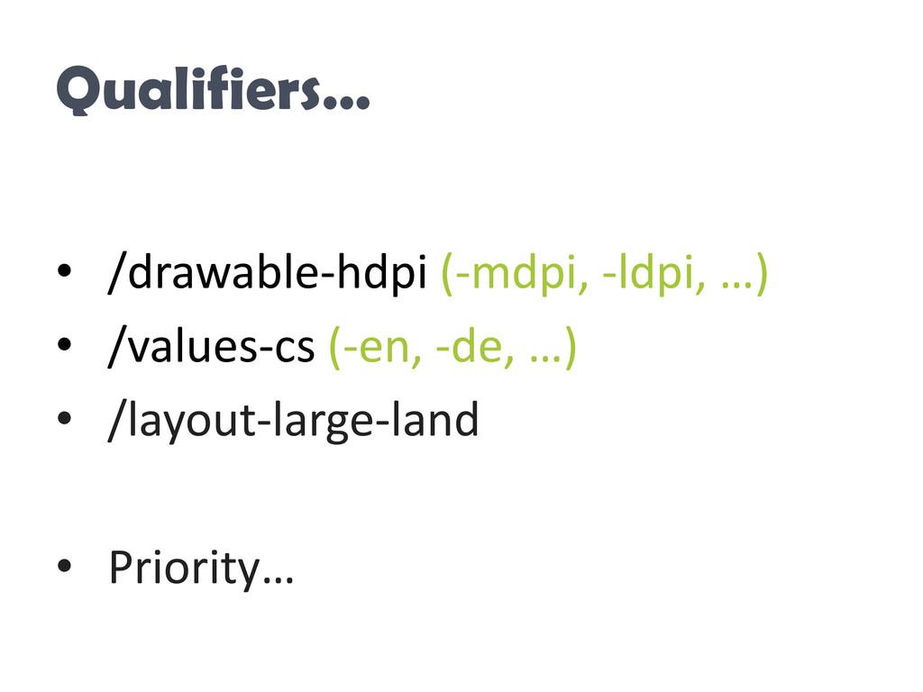 Qualifiers… • /drawable-hdpi (-mdpi, -ldpi, …) ...