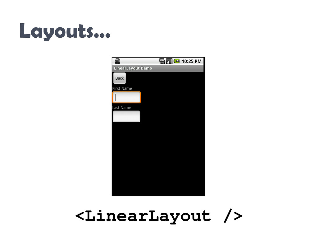 Layouts… <LinearLayout />
