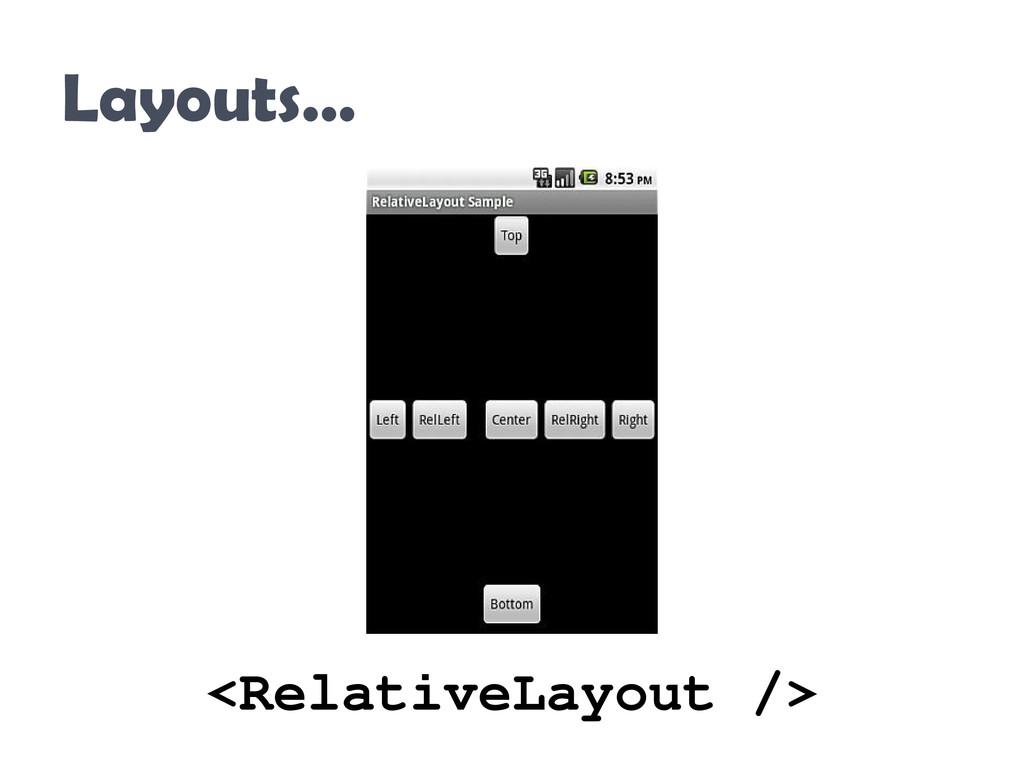 Layouts… <RelativeLayout />