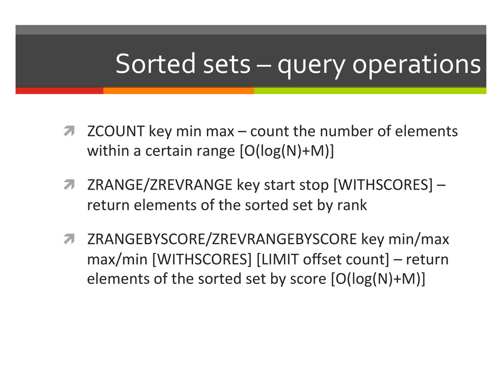 Sorted sets – query operations  ...