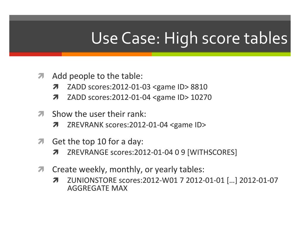 Use Case: High score tables  ì...