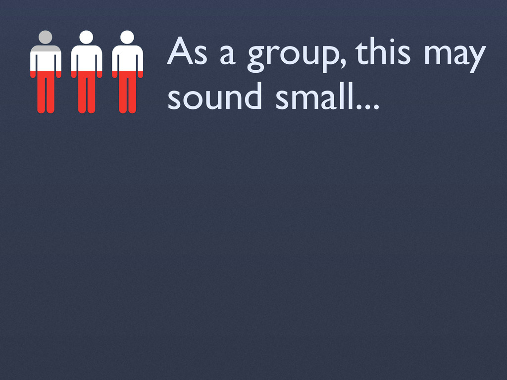 As a group, this may sound small...