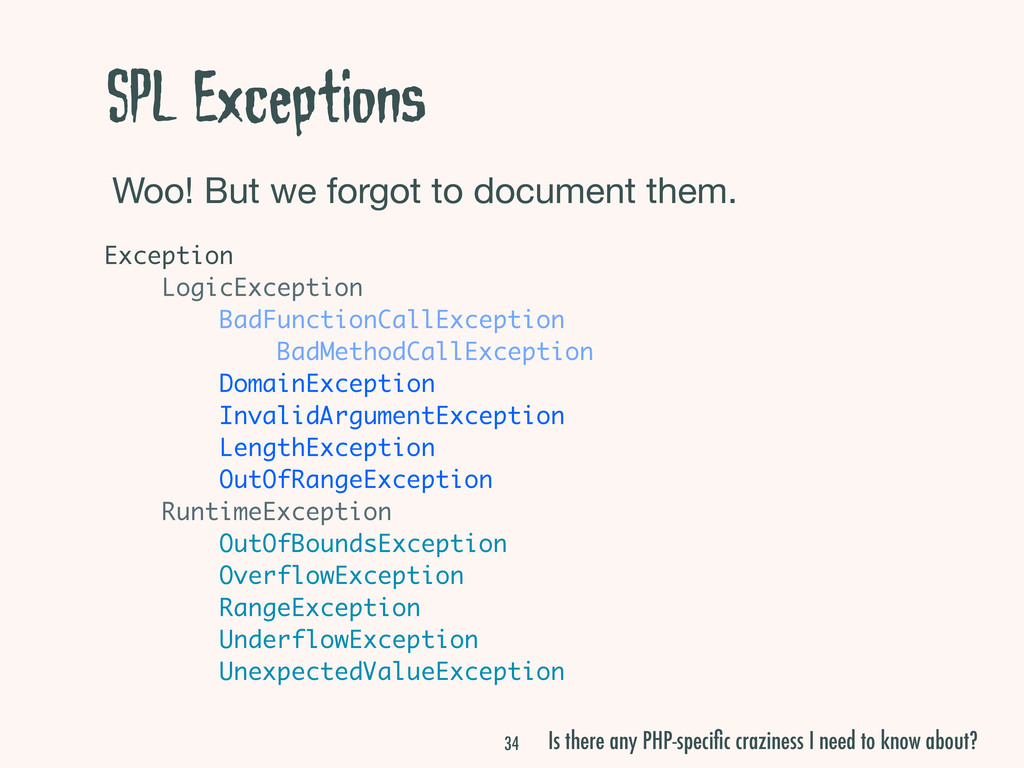 SPL Exceptions Woo! But we forgot to document t...