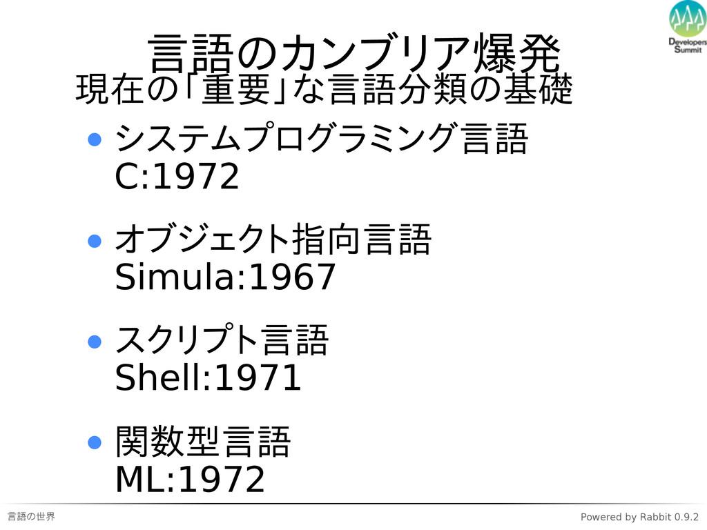 言語の世界 Powered by Rabbit 0.9.2 言語のカンブリア爆発 現在の「重要...